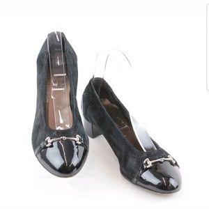 AGL Snaffle Leather Horebit Pump Loafers Heel Blk